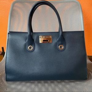 JIMMY CHOO Riley Blue Leather Tote Bag